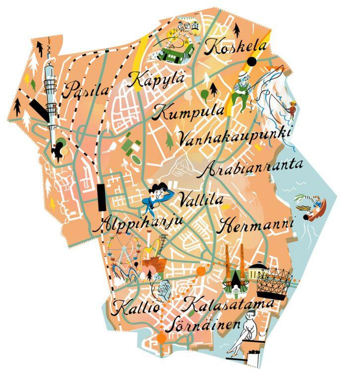 OmaStadi Keskinen karttakuvitus pieni 300dpi 220x240 MinnaAlanko